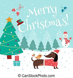 Christmas card with cute dachshund in Santa hat flat vector illustration.