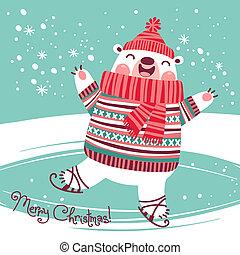 Christmas card with cute polar bear on an ice rink.