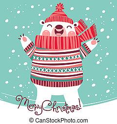 Christmas card with cute polar bear.