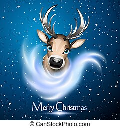 Christmas card with cute reindeer over blue