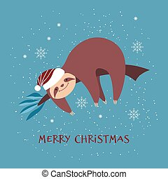 Christmas card with cute sloth in Santa hat.