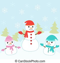 Christmas card with cute snowmen