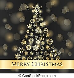 Christmas card with dark background and golden snowflakes