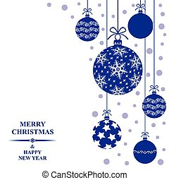 Christmas card with decorative blue balls