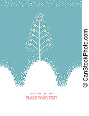 Christmas card with decorative Christmas tree. Vector background