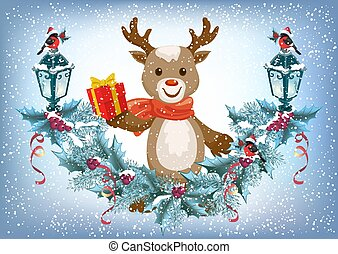 Christmas card with deer holding gift box and spruce garland with lantern and bullfinch bird in Santa hat on the snowfall background in retro style
