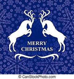 Christmas card with deer on snowflakes background