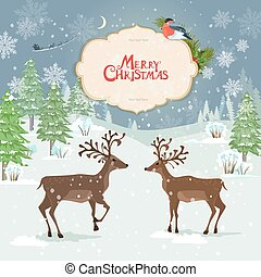 christmas card with deers in winter forest