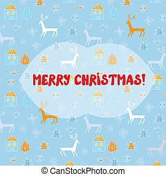 Christmas card with deers pattern - ethnic style