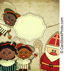Christmas card with Dutch Santa Claus - Sinterklaas and...