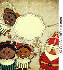 Christmas card with Dutch Santa Claus - Sinterklaas