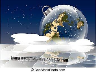 christmas card with earth