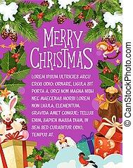 Christmas card with festive New Year wreath