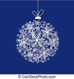 Christmas card with filigree ball from snowflakes