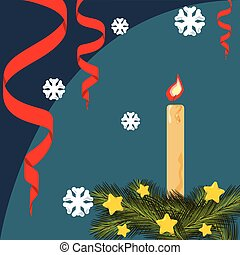Christmas card with fir branches, stars, serpentine, lighted candle