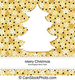 Christmas card with fir on gold snowflakes background