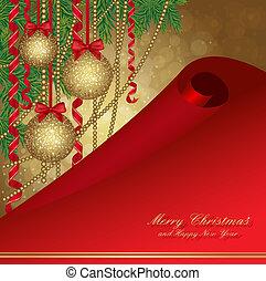 christmas card with fir tree and balls