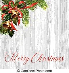 Christmas card with fir tree and jingle bells.