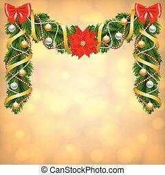 Christmas card with fir-tree decoration