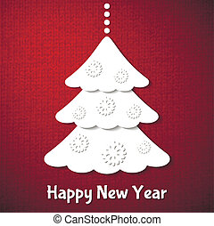 Christmas card with fir-tree on red background