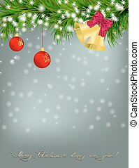 Christmas card with fir twigs and jingle bells