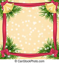 Christmas card with fir twigs, and jingle bells