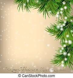 Christmas card with fir twigs and snowflakes