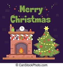 Christmas Card with fireplace and Christmas socks