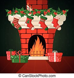Christmas Card with fireplace and socks. - Christmas Card...