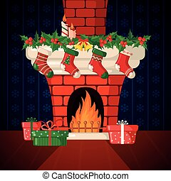 Christmas Card with fireplace and socks.