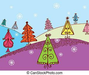 Christmas card with firs cartoon