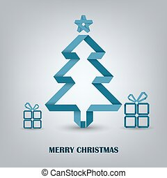 Christmas card with folded paper blue tree