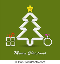 Christmas card with folded paper Christmas tree
