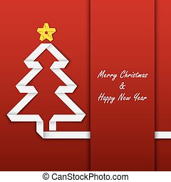 Christmas card with folded paper tree template