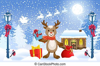 Christmas card with funny fawn deer holding gift box and Santa's workshop against winter forest background and Santa Claus in sleigh with reindeer team flying in sky