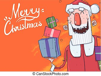 Christmas card with funny Santa Claus smiling. Santa Claus brings presents in colorful boxes. Lettering on orange background with copy space. Cartoon character vector illustration.