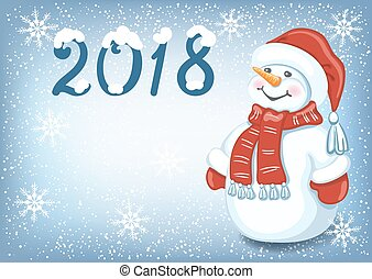 "Christmas card with funny Snowman against snowfall background and  inscription ""2018"""