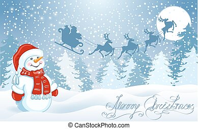 Christmas card with funny Snowman against winter forest background and Santa Claus in sleigh with reindeer team