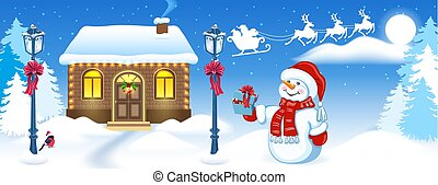 Christmas card with funny Snowman and Santa's workshop against winter forest background