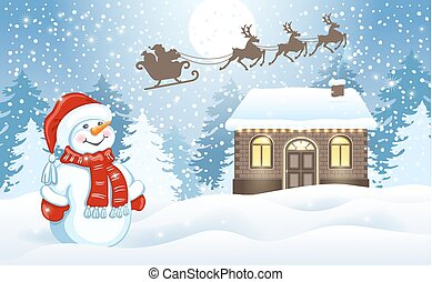 Christmas card with funny Snowman and Santa's workshop against winter forest background and Santa Claus in sleigh with reindeer team flying in the moon sky
