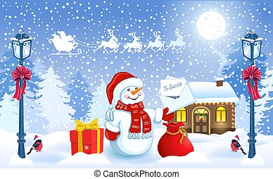 Christmas card with funny Snowman holding envelope with wish list for Santa Claus and Santa's workshop against winter forest background and Santa Claus in sleigh with reindeer team flying in the sky