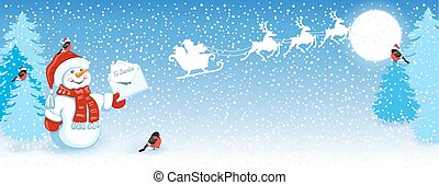 Christmas card with funny Snowman in Santa cap with Christmas letter for Santa Claus against winter forest background, bullfinches and Santa Claus in sleigh with reindeer team flying in the sky. New Year design postcard.