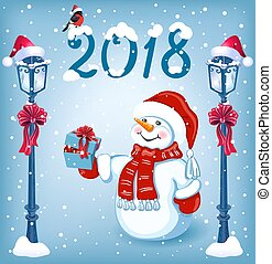Christmas card with funny Snowman in Santa cap with gift box against snowfal background and streetlamp