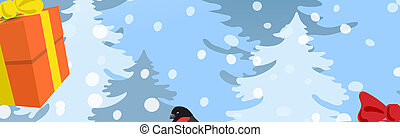 Christmas card with funny Snowman in Santa cap with gift boxes against winter forest background and Santa Claus in sleigh with reindeer team flying in the sky. New Year design postcard.