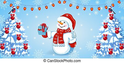 Christmas card with funny snowman in Santa hat with gift box and fir tree with red balls