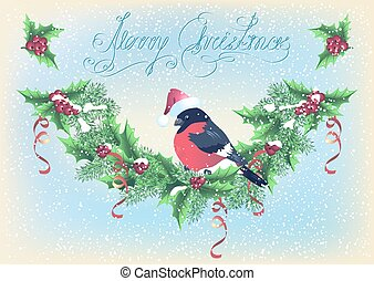Christmas card with garland and bullfinch on the snowfall background