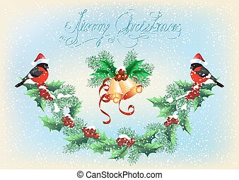 Christmas card with garland, bells and bullfinches on the snowfall background