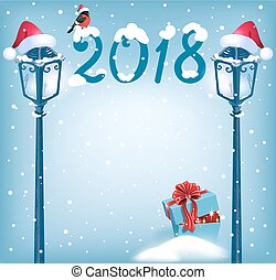 Christmas card with gift box, bullfinches and vintage lampposts in Santa cap against snowfall background