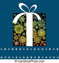 Christmas card with gift box made f