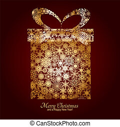 Christmas card with gift box made from gold snowflakes on brown background and a wish of Merry Christmas and a Happy New Year, vector illustration